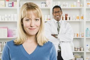 closeup portrait of a pretty women and a pharmacist