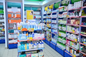 pharmacy shelves full of products on display